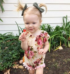 $enCountryForm.capitalKeyWord Canada - 2017 Infant Girls Flower Romper Baby Rompers Florals Printed Tassels Toddlers Climb Clothes Kids Dots Jumpsuit Children Overalls 3145