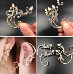 $enCountryForm.capitalKeyWord NZ - New Fashion Jewelry Ear Cuff Rhinestone earrings ear Cuff elegant golden Silver Plated exaggerated gecko lizard stud earrings Ear Cuffs C091