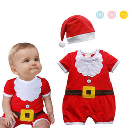 Santa Claus Girls Jumpsuit Canada - Baby Christmas Rompers Santa Claus Pattern Jumpsuit with Hat Newborn Clothes Baby Girl Boy Christmas Clothes Kids Clothing Infant Outfits