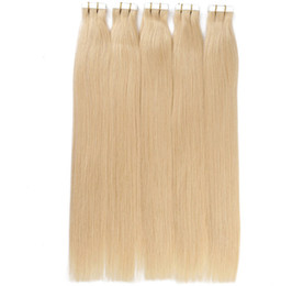 26 remy human hair extensions UK - Grade 6A!!!100% Human Russion remy human hair straight PU tape in hair Extensions 14''-26'' Blonde Color 2.7 g s 108g pack 40pcs dhl free