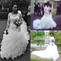 $enCountryForm.capitalKeyWord Canada - Long Sleeves Plus Size African Wedding Dresses 2018 Bateau Appliques Mermaid Ruffles Court Train Organza Arabic Bridal Gowns Custom Made