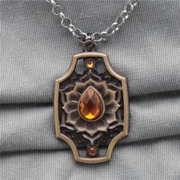 Spirit Pendants Australia - Dota 2 Ember Spirit Necklace & Keychain Bronze Rhinestone Alloy Pendant Necklaces Key Ring For Europe and America Wholesale