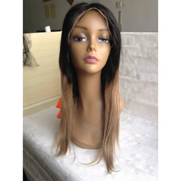 22 ombre full lace wig NZ - Free Shipping Ombre 1b 27# Color Brazilian Human Hair Full Lace Wig Silky Straight Two Tone Lace Front Wig Glueless Wigs 130% density