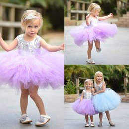 Vêtements En Argent Pas Cher-Adorable Children Tutu Robe Silver Sequined Jewel Décolleté Au-dessus du genou Longueur Prom Oageant Robes Little Girls Light Purple Blue Sky