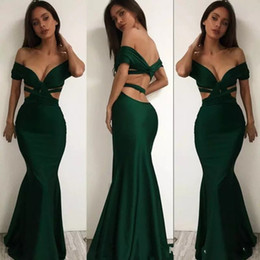 Barato Escuro Verde Sereia Vestidos De Noite-Sexy Off Shoulder Dark Green Evening Dresses 2017 Satin Mermaid Backless Prom Dress Arábia Saudita Mulheres Formal Dress Cocktail Party Vestidos