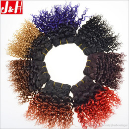 black hair perm curly 2018 - 8A Ombre Afro curl Human Hair weave bundles Kinky Curly 8inch short wefts 1B 99J Ombre 1B 27 1B 33 1B RED 1B PURPLE 50g