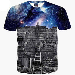 T-Shirt 3D T-shirt New Europe and American Men / boy 3d fashion print Una persona che guarda la pioggia di meteoriti Space galaxy t shirt