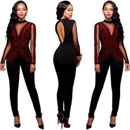 Discount plus mesh jumpsuit - Wholesale- Sexy Sequin Long Sleeve Jumpsuit Women Autumn Winter Mesh Patchwork Plus Size Skinny Playsuit Full Length Bac