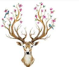 Sika Deer Обои Wall Decal Спальня Гостиная Главная Украсьте стену наклейки Входная книга Дом Домашнее украшение Наклейки на Рождество