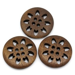 buttons 25mm holes NZ - Brand 25PCs 25mm Wooden Buttons Sewing Snowflake Carved 4 Holes Brown Scrapbooking