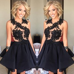 Discount sexy beige club dresses - Newest Black Sheer Lace Appliques Cocktail Dresses Illusion Jewel Neck Sleeveless Short Party Homecoming Dresses Club Go