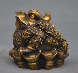 $enCountryForm.capitalKeyWord NZ - Chinois fengshui laiton argent coin yuanbao lingot D'or Crapaud bufo grenouille statue