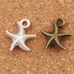 antique bronze beads 2019 - Corrugation Starfish Sea Star Charm Beads Fashion 14x16mm Antique Silver Bronze Pendants Alloy Handmade Jewelry DIY L014