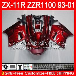 Fairings For kawasaki ninja 1994 online shopping - 8Gifts For KAWASAKI NINJA ZX11 ZX11R ZZR HM9 red black ZZR1100 ZX R ZX Fairing Kit