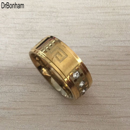316 steel rings online shopping - 2017 new high quality wide mm Titanium Steel yellow gold color greek key wedding band zircon ring men women