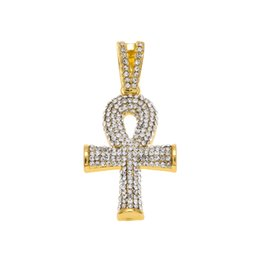 Chinese  Hip Hop Gold Silver Mens Full Iced Out Crystal Egyptian Ankh Key of Life Cross Pendant Necklace With 24inch Cuban Chain manufacturers