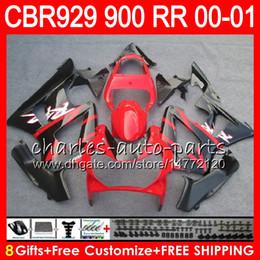 Honda Cbr929 Australia - Body For HONDA CBR 929RR CBR900RR CBR929RR 00 01 CBR 900RR 67HM10 TOP Red black CBR929 RR CBR900 RR CBR 929 RR 2000 2001 Fairing kit 8Gifts
