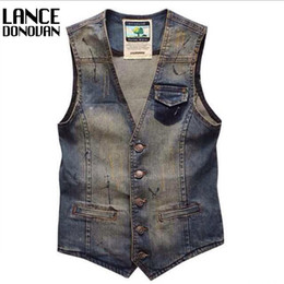 Gilets De Jeans En Gros Pas Cher-Wholesale- Colete Masculino Hommes Hommes Breasted Men Dress Suit Vest Denim Jeans Waistcoat