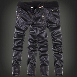 Discount mens tight leather trousers - Wholesale- Korean Fashion cool Mens rock leather pants Black faux Tight skinny Plus size 30 31 32 33 34 36 Punk trousers