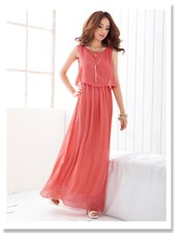 Plus Tailles Maxi Robes Pas Cher-Cheap Women A-ligne Robe longue O-neck Short Sleeve Side Slit Plus Size Sexy Chiffon Coral Maxi Robes Nouvelle mode