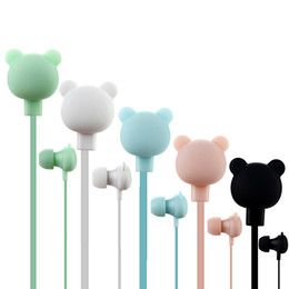 Mic earphones cartoon online shopping - Cute Bear Earphones Colorful Cartoon Studio In ear Handsfree with Mic Button Remote mm Headsets for iPhone Samsung Huawei Xiaomi