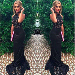 Closed neCk evening dresses online shopping - 2017 New Sexy High Neck Sleeveless Mermaid Close Fitting Prom Dresses Black Lace Formal Women Evening Gowns Satin Robe De Soiree