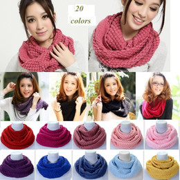 warming scarf Canada - New Fashion Women's Girl's Ring Scarf Scarves Wrap Shawls Warm Knitted Neck Circle Cowl Snood For Autumn Winter Free Shipping