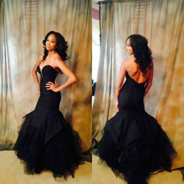 Empire De Chérie De Longue Robe Pas Cher-Black Mermaid Prom Dresses 2017 Sweetheart Long Robes de soirée formelles robe de soiree Beaded Dentelle Ruffles Jupe Tulle Custom Made