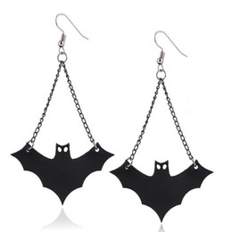 wholesale charms UK - Halloween Creative Earrings New Fashion Personality Punk style strange bat Earrings Jewelry For Women