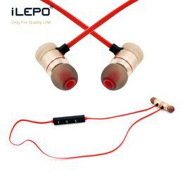 Wireless Usb Music Headphones NZ - 2018 iLepo M102 Wireless Earphone Metal Magnetic Bluetooth Stereo Headphones with Mic Sport Running Play Music MP3 earphones