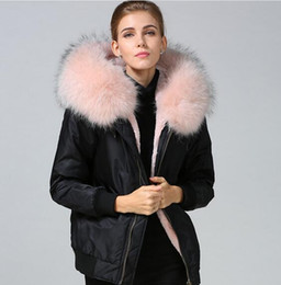 fur trimmed winter coats NZ - Nylon jackets pink raccoon fur trim Meifeng brand women snow coats pink rabbit fur lined black nylon bomber parka for cold winter weather