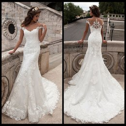 Wholesale 2019 Vintage Mermaid Wedding Dress Full Length Scoop Neck Bridal Gown Sexy Cap Sleeve Bridal Wedding Gown Sweep Train