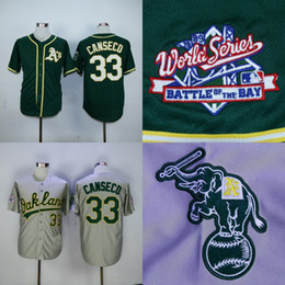 ff24d3de 1989 World Series Patch Oakland Athletics 33 Jose Canseco Jersey Mens 100% .
