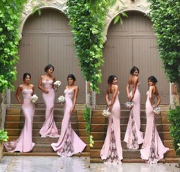 Discount silk ivory spaghetti strap wedding dress - Sexy Straps Spaghetti Mermaid Exquisite Bridesmaid Dresses 2018 Lace Long Prom Dresses Maid Of Honor Gowns Cheap Wedding