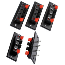 speaker push terminal 2019 - Wholesale- CES-Single Row 4 Position Cable Clip Push Type Speaker Terminals 5PCS cheap speaker push terminal