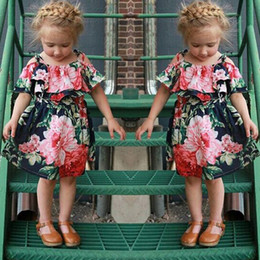 Barato Vestido De Deslizamento Ruffled Bebê-New Summer Slip Dress For Little Girls Bebê Algodão Flower Printing Off Shoulder Dress Chlilden Kids Ruffles Short Sleeve Belt Dress Para 2-7T