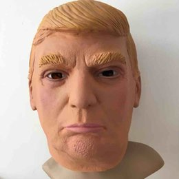 Costumes Donald Pas Cher-Donald Trump USA, président, masque facial complet masque de latex Donald Trump Costume Party Mask Brown Yellow with Opp Bag