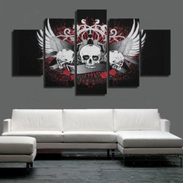 skull figures Canada - Wholesale Abstract 5 Pieces Skull with Flower Art Pictures for Home Office Coffee Bar Decoration Canvas Wall Painting Unframed