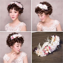 $enCountryForm.capitalKeyWord NZ - Woman headdress hair Lomen bride Korean aesthetic Juan yarn feather wreath wedding headdress headdress flower crown hair 154138