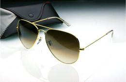 Sun Glasses Designer Hot Women Canada - 1pcs Hot Sale Mens Womens Pilot Gradient UV400 Sunglasses Designer Sun Glasses Gold Brown Blue Grey 58mm Glass Lenses Original Cases Box