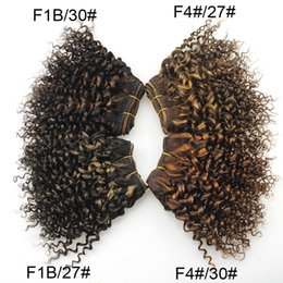 human hair bob weaves 2019 - New Arrival Brazilian Kinky Curly Virgin Hair Fashion Bob Hairstyle Double Drawn F1b 27# 30# F4# 27# 30# Human Hair Weav