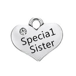 $enCountryForm.capitalKeyWord Canada - Heart Pendant Special Sister Engraved Words With Clear Crystal Antique Silver Plated Fashion Charm DIY Necklaces&Bracelets
