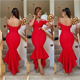 Discount fat size wedding dresses - Fat Arabic Lady Red Bridesmaid Dresses Mermaid Off the Shoulder 2017 High Low Maid of Honor Gowns Plus Size Wedding Gues