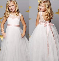 Las Niñas Blancas Volantes Vestidos Baratos-Everweekend Girls Summer Maxi vestido de encaje con el arco de volantes Blanco Flower Girls Danza Wester Princess Holiday Dress