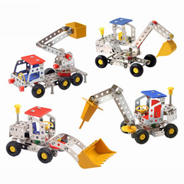 3d assembly metal alloy engineering vehicle model kits toy car building puzzles construction play set for kids children