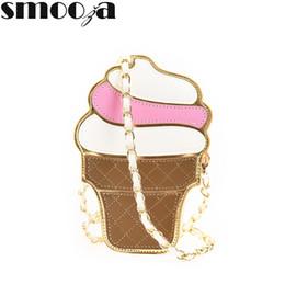 Cupcake Plain NZ - Wholesale- SMOOZA Cute Cartoon Women bag Ice Cream Cupcake Shape Mini Shoulder Bag Metal Chain Mobile Keys Coin crossbody Messenger Bag
