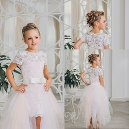 Custom Short Gown Canada - 2017 New Arrival Flower Girl Dresses High Low Knee Length O-neck Short Sleeves Pink Pageant Communion Gown Vestidos Custom Made