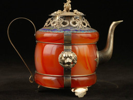 jade pots UK - Collectible Decorated Old Handwork Jade Cloisonne Tibet Silver Dragon Tea Pot
