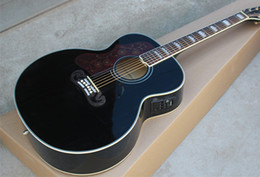 Black Acoustic Guitars NZ - Left Handed Custom Shop Black Spurce Top 43 inch Maple Back Sides Acoustic Guitar can be Intalled with Fishman 101 301 EQ Free Shipping