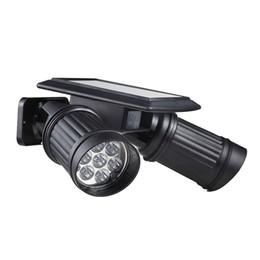 Solar Pir Wall Lights UK - Wholesale- Super Bright 14 LEDs Spotlight Solar Powered Wireless PIR Motion Sensor Wall Light Adjustable Dual Heads LED Security Night Lamp